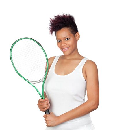 Exotic african tennis player isolated on white background Stock Photo - 9694854