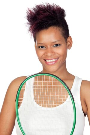 Exotic african tennis player isolated on white background Stock Photo - 9694897