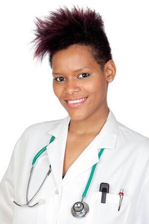 Exotic medical girl isolated on white background photo