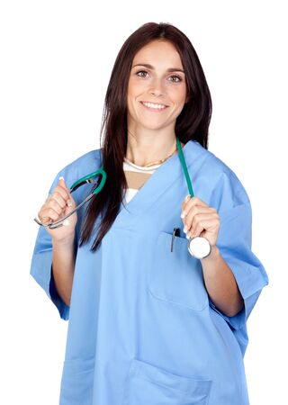 Attractive brunette doctor isolated on a over white background photo