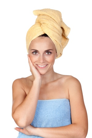 Beautiful girl with towel isolated on a over white background