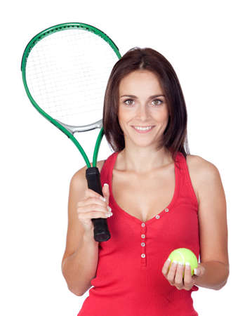 Beautiful brunette girl with tennis racket isolated on a over white background photo