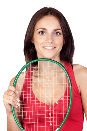 Beautiful brunette girl with tennis racket isolated on a over white background Stock Photo - 9694918