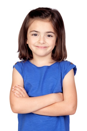 pretty eyes: Brunette little girl isolated on a over white background