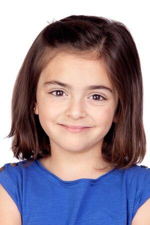 Brunette little girl isolated on a over white background