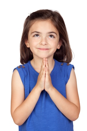 supplicate: Angelic little girl isolated on a over white background