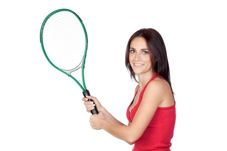 Beautiful brunette girl with tennis racket isolated on a over white background Stock Photo - 9788970