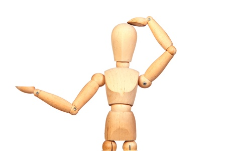 jointed: Jointed wooden mannequin looking something isolated on white background Stock Photo