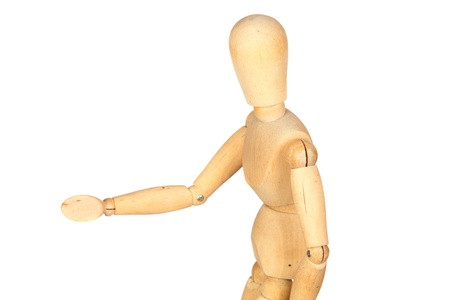 jointed: Jointed wooden mannequin greeting isolated on white background
