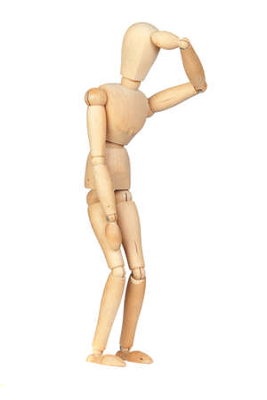 jointed: Jointed wooden mannequin representing discouragement isolated on white background