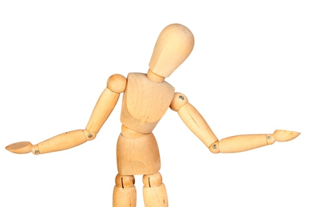 jointed: Undecided jointed wooden mannequin isolated on white background
