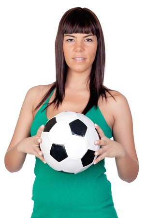 Beautiful girl with a soccer ball on a over white background photo