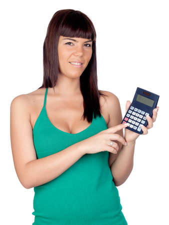 Beautiful girl with a calculator isolated on a over white background photo