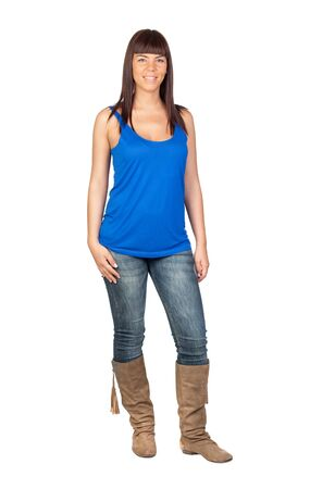 Schöne Mädchen mit Jeans auf einem weißen Hintergrund isoliert