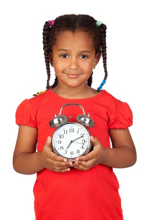 silvered: African little girl with a silvered clock isolated on a over white