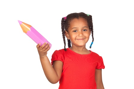 African little girl with a big pink pencil isolated on a over white photo