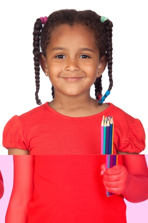 African little girl with crayons isolated on a over white photo