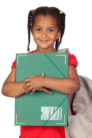 green back: African little girl with a folder and backpack isolated on a over white