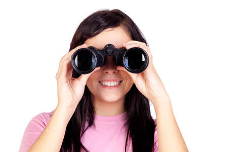 see through: Brunette girl looking through binoculars isolated on a over white background