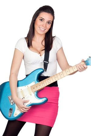 Attractive girl with a blue electric guitar isolated on white background Stock Photo - 9789324