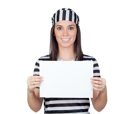 woman prison: Beautiful prisoner with blank paper isolated on a over white background Stock Photo