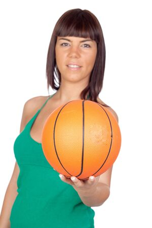 Beautiful girl with a basketball on a over white background photo