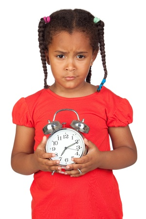 cabizbajo: Sad little girl with a silvered clock isolated on a over white Foto de archivo
