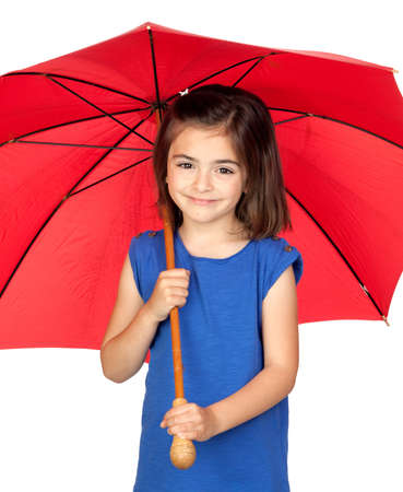 Brunette little girl with a red umbrella isolated on a over white background photo