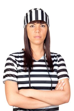 Beautiful prisoner isolated on a over white background Stock Photo - 9929052