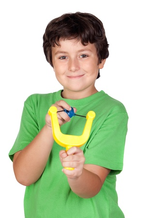 troublemaker: Adorable child with a slingshot isolated on white background