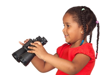 African little girl with binoculars isolated on a over white photo