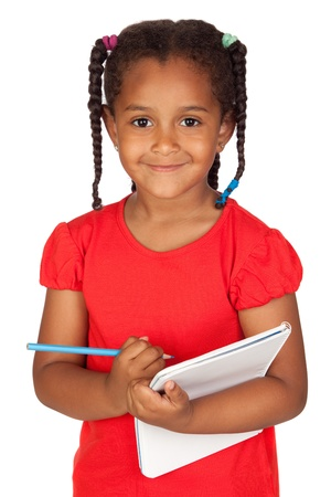 African little girl with a notebook isolated on a over white photo