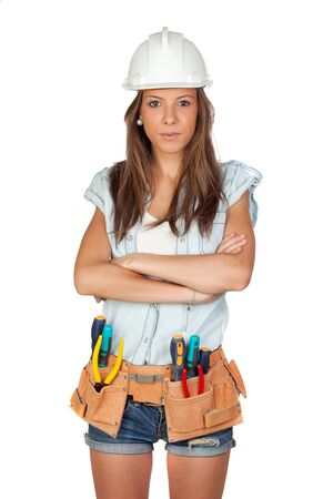 woman hard working: Sexy girl with construction tools on a white background Stock Photo