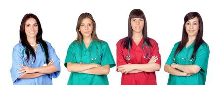 assistant: Attractive medical team of woman a over white background Stock Photo