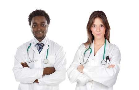 Couple of young doctors a over white background Stock Photo - 10376525