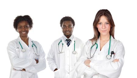 Medical team of three doctors on a over white background photo