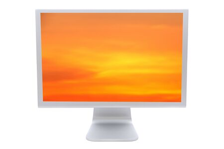 Computer monitor with a orange sky isolated no a over white background  photo