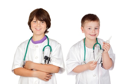 Couple of future doctors a over white background photo