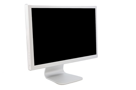 Computer monitor with a black image isolated on white background photo