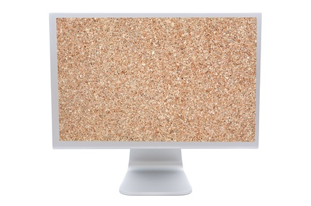 Computer monitor with the image of a corkboard photo