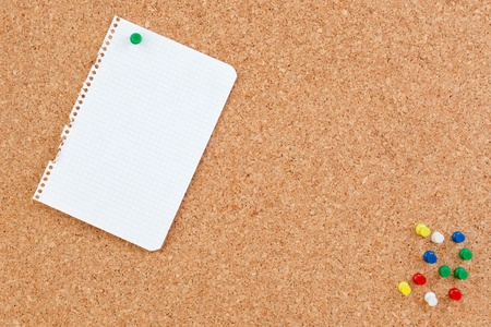Photo of corkboard with blank paper punch photo