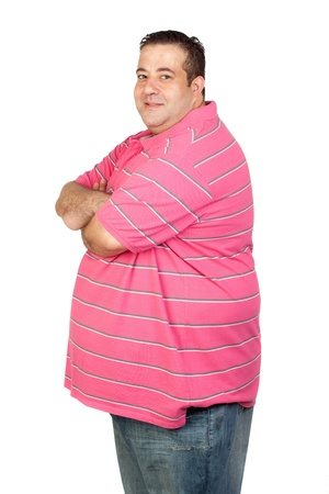 Worried fat man with pink shirt isolated on white background photo