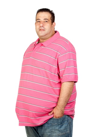 Worried fat man with pink shirt isolated on white background Stock Photo