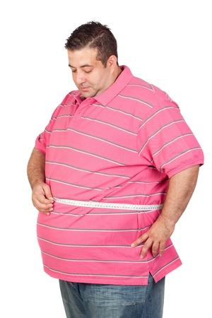 지방: 흰색 배경에 절연 테이프 측정 값 뚱뚱한 남자