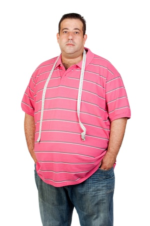 Fat man with a tape measure isolated on white background photo