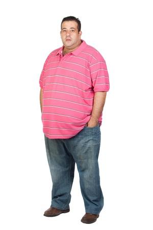 FAT man con camisa rosa aislada sobre fondo blanco Foto de archivo