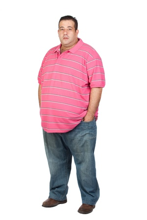 Fat man with pink shirt isolated on white background photo
