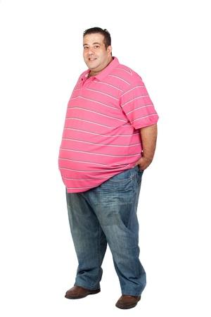jeans apretados: FAT man con camisa rosa aislada sobre fondo blanco