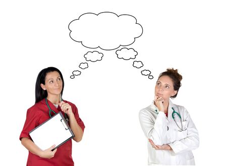 hospital staff: Two health workers thoughtful isolated on white background Stock Photo