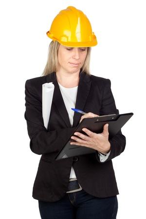 Blonde architect with a black jacket isolated on white background photo
